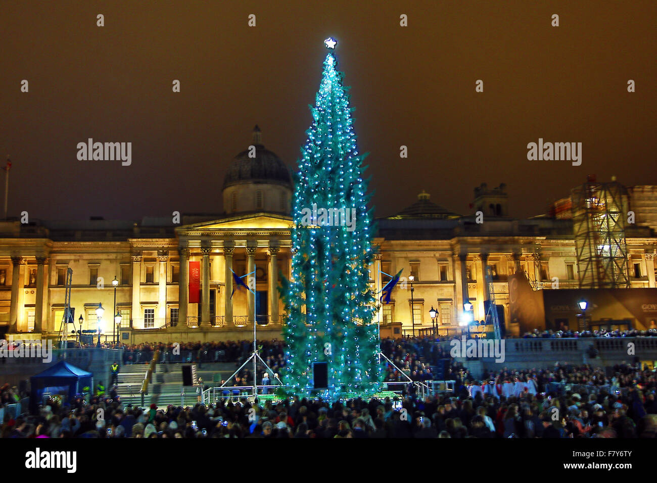 London, UK. 3rd Dec, 2015. Crowds braved the threatening rain to watch the lighting of the Trafalgar Square Christmas - Stock Image