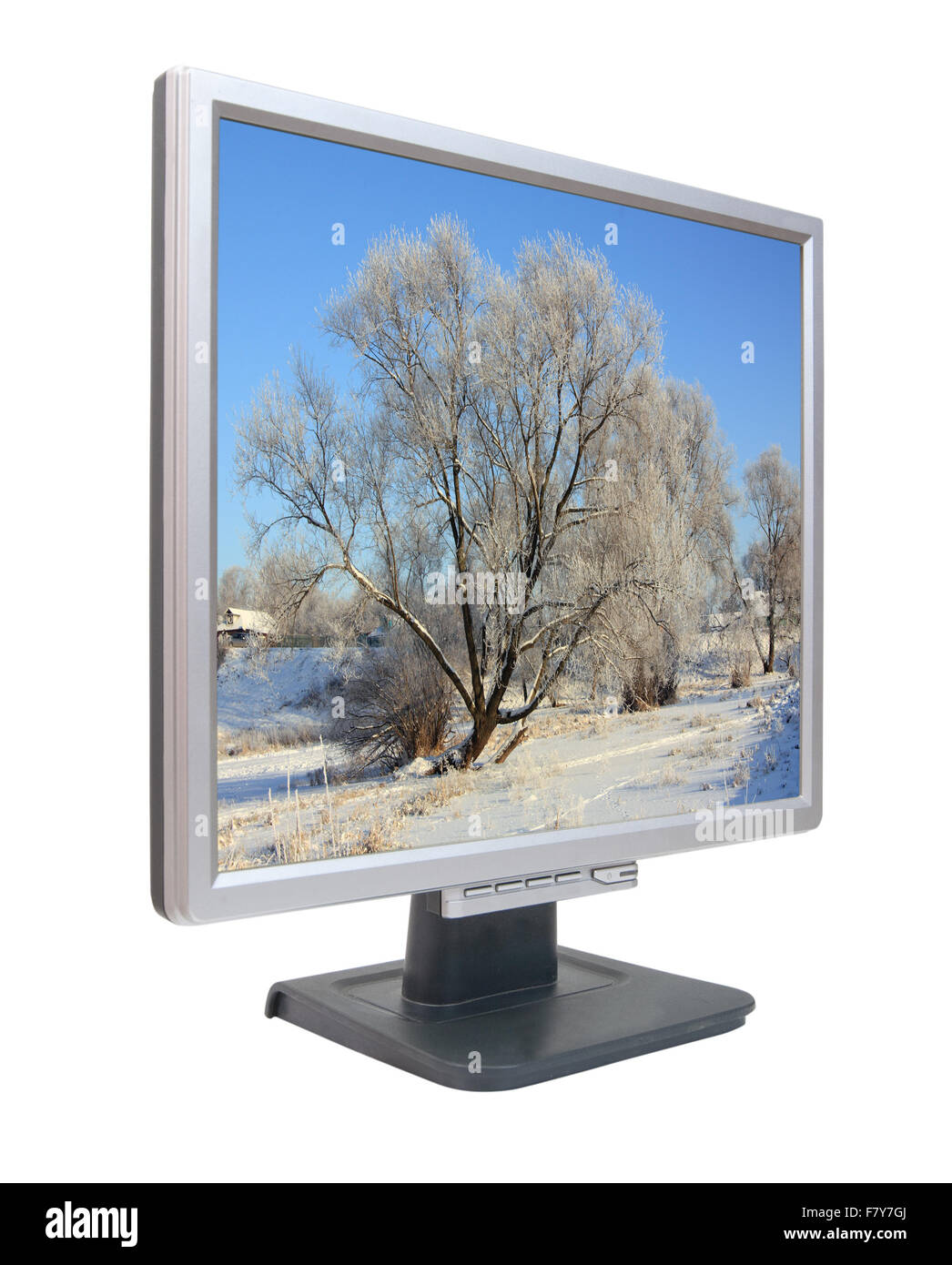 Lcd monitor with winter nature on wallpaper. On screen my photo - Stock Image