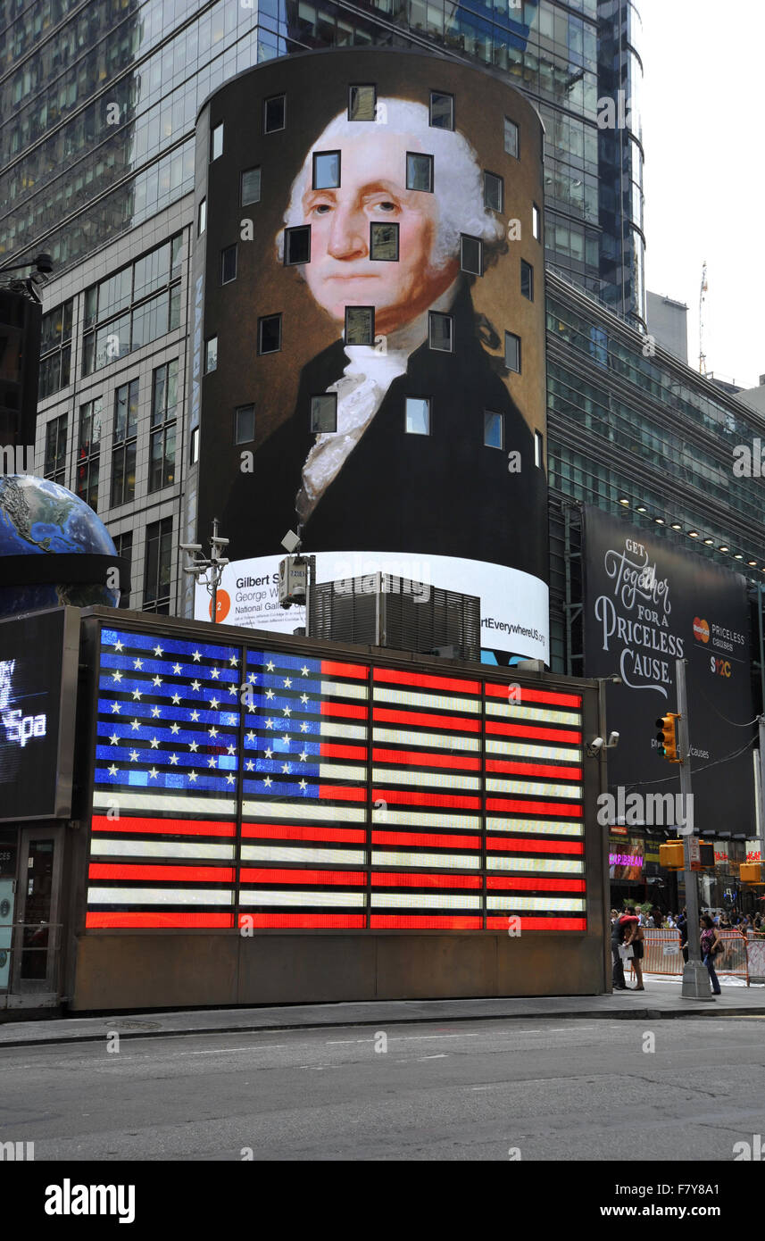 Gilbert Stuart paining of George Washington appears on digital billboard at New York's Times Square during the Art Stock Photo