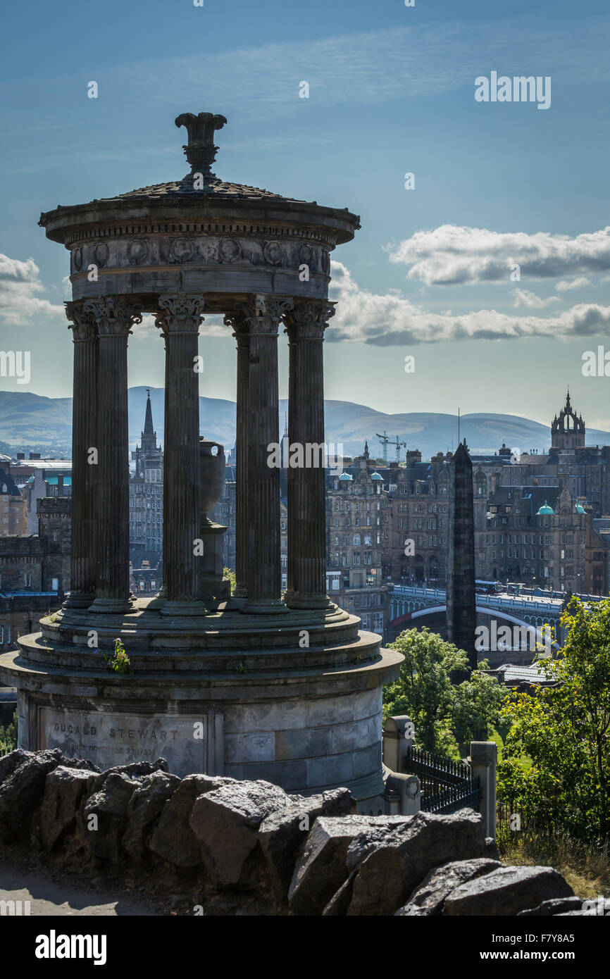 The Dugald Stewart Monument, with views over The Old Town, Edinburgh, Scotland Stock Photo
