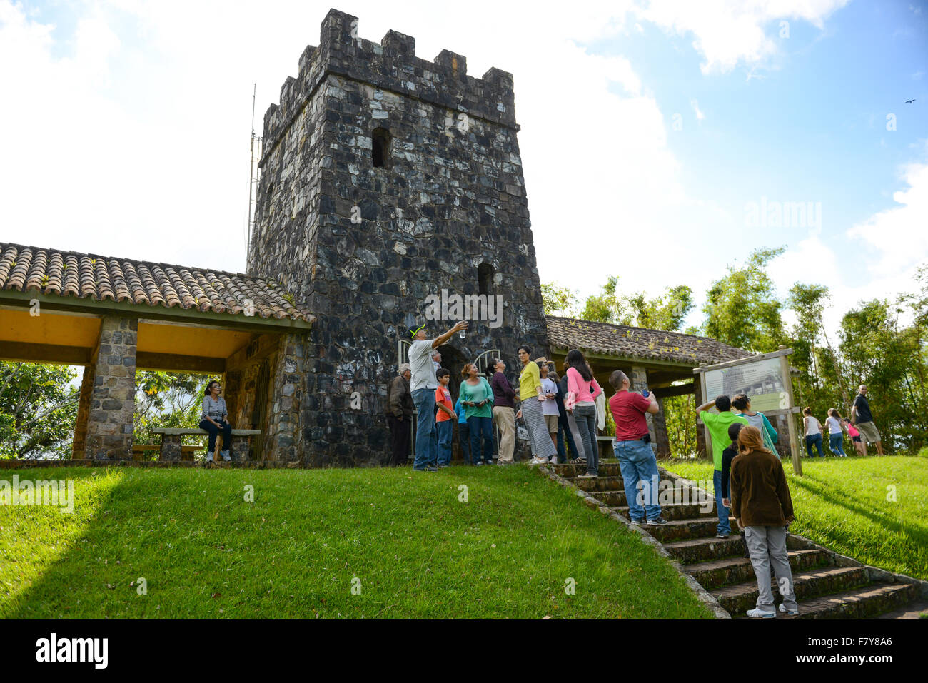 Tourists arriving at the Torre de Piedra (Stone Tower). Maricao, Puerto Rico. Caribbean Island. USA territory. - Stock Image