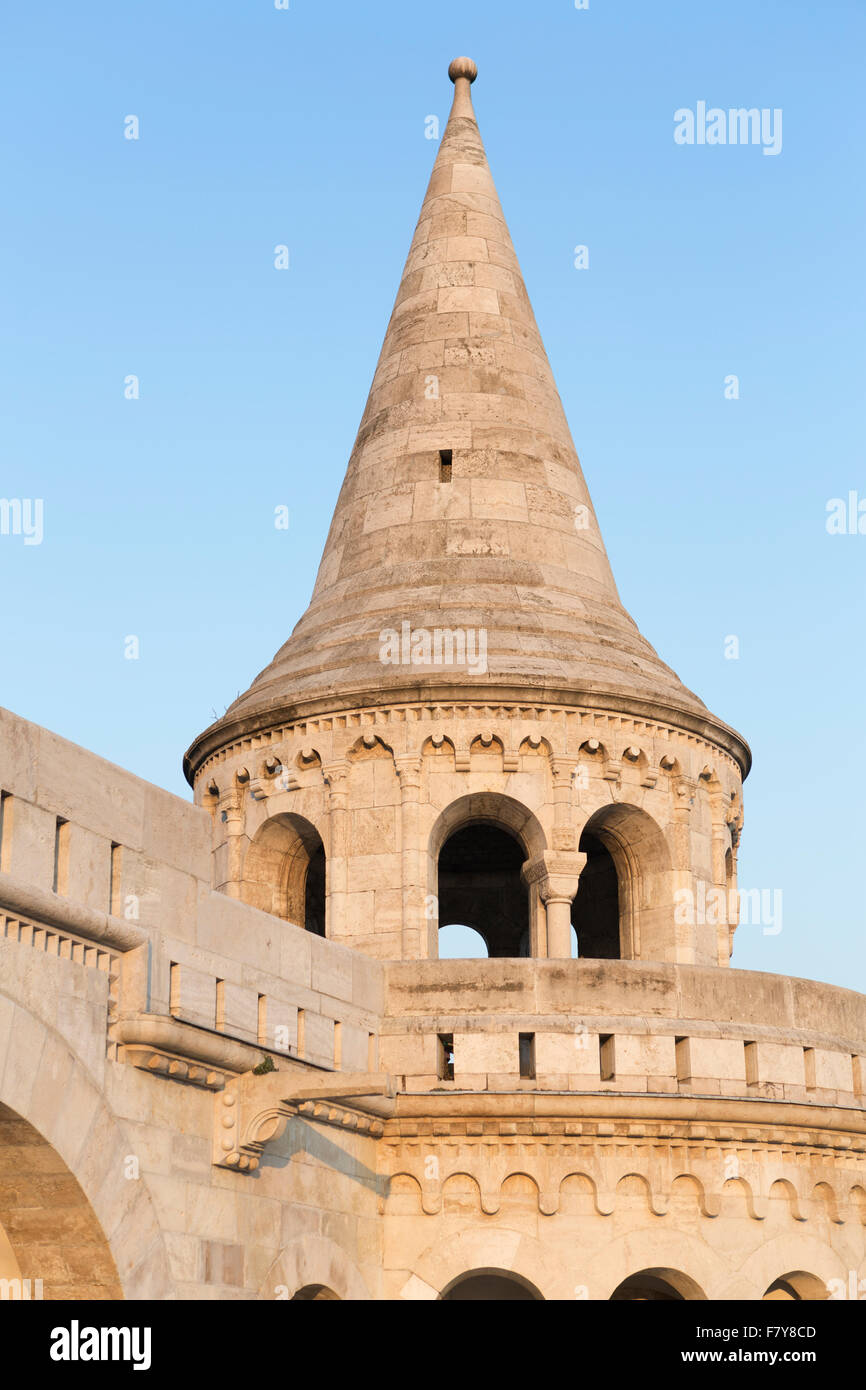 Hungary, Budapest, architectural detail at the Fisherman's Bastion. Stock Photo