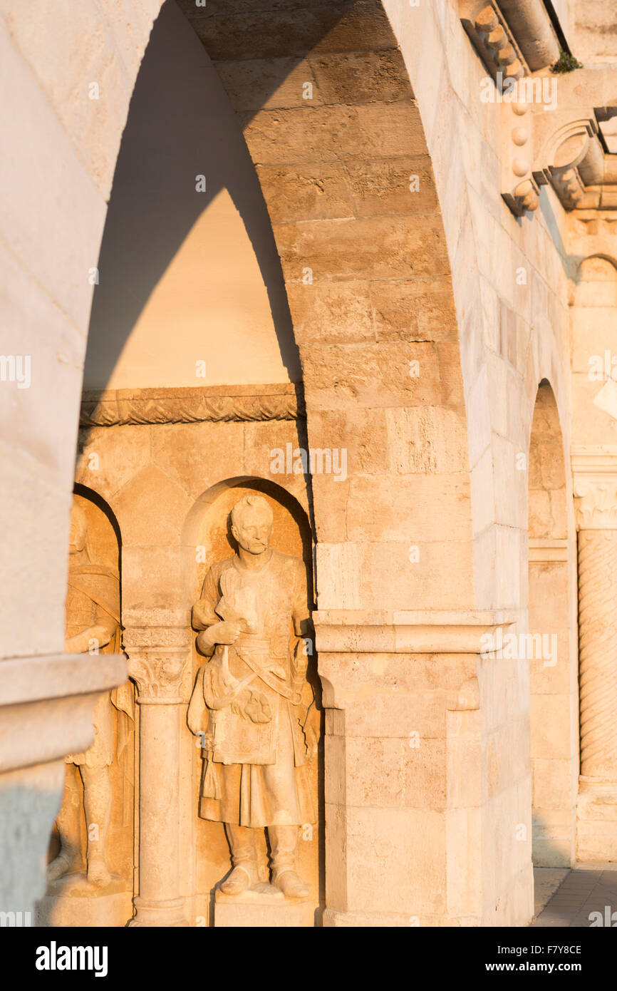 Hungary, Budapest, sculpture detail on the Fisherman's Bastion. - Stock Image