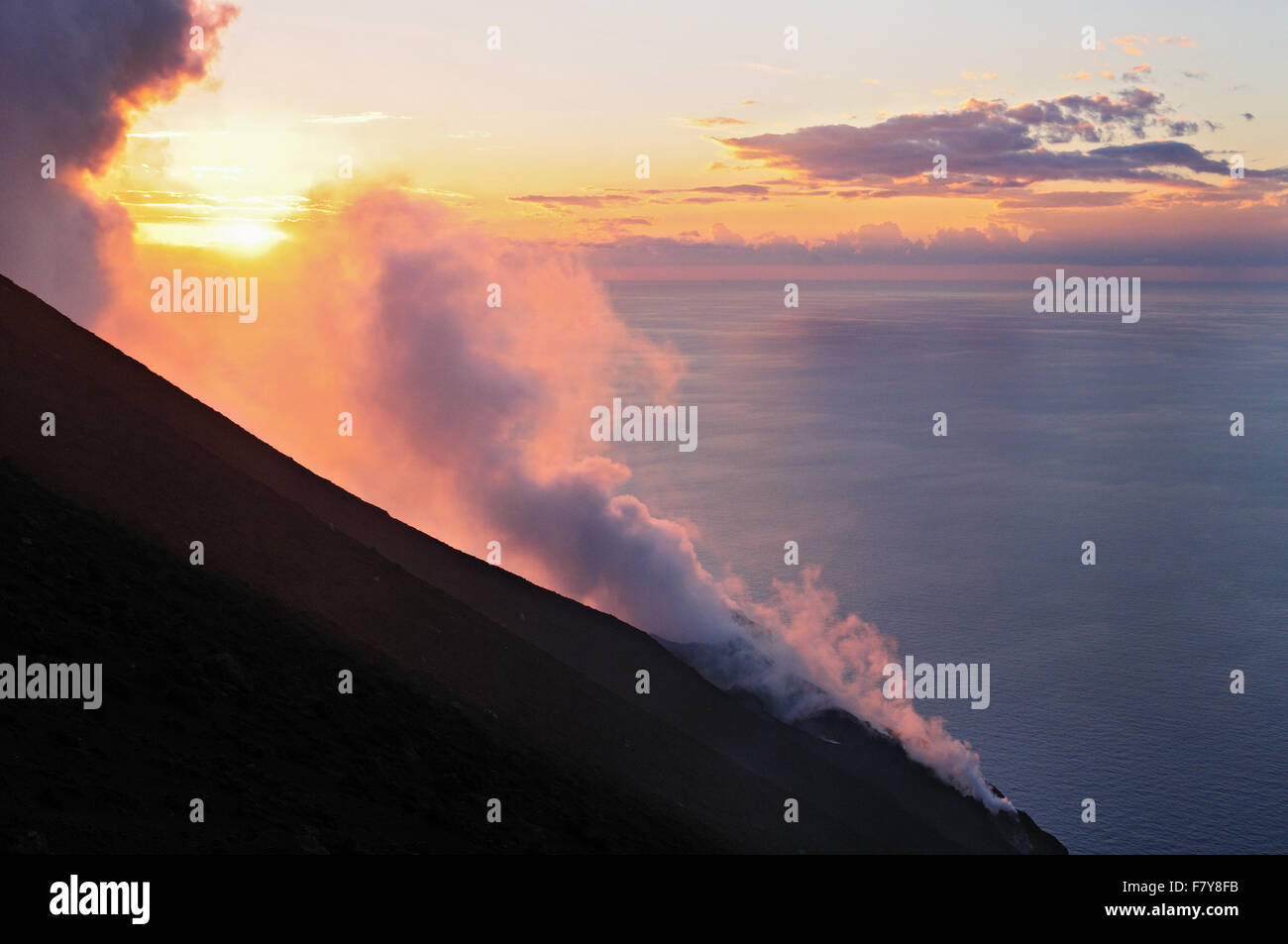 Fumaroles on the top of Stromboli volcano at sunset, Aeolian Islands, Sicily, Italy - Stock Image