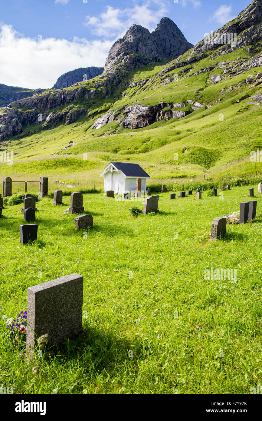 Churchyard or Kirkegaard of the little village of Vindstad near Bunes beach and Reine in the Lofoten Islands Norway - Stock Image