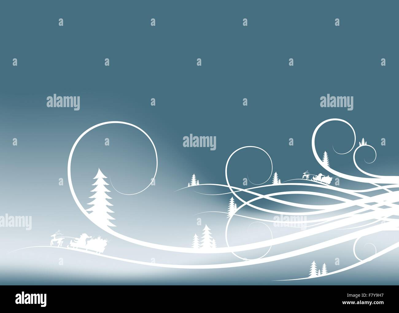 abstract winter background with firtree silhouettes and Santa - Stock Image