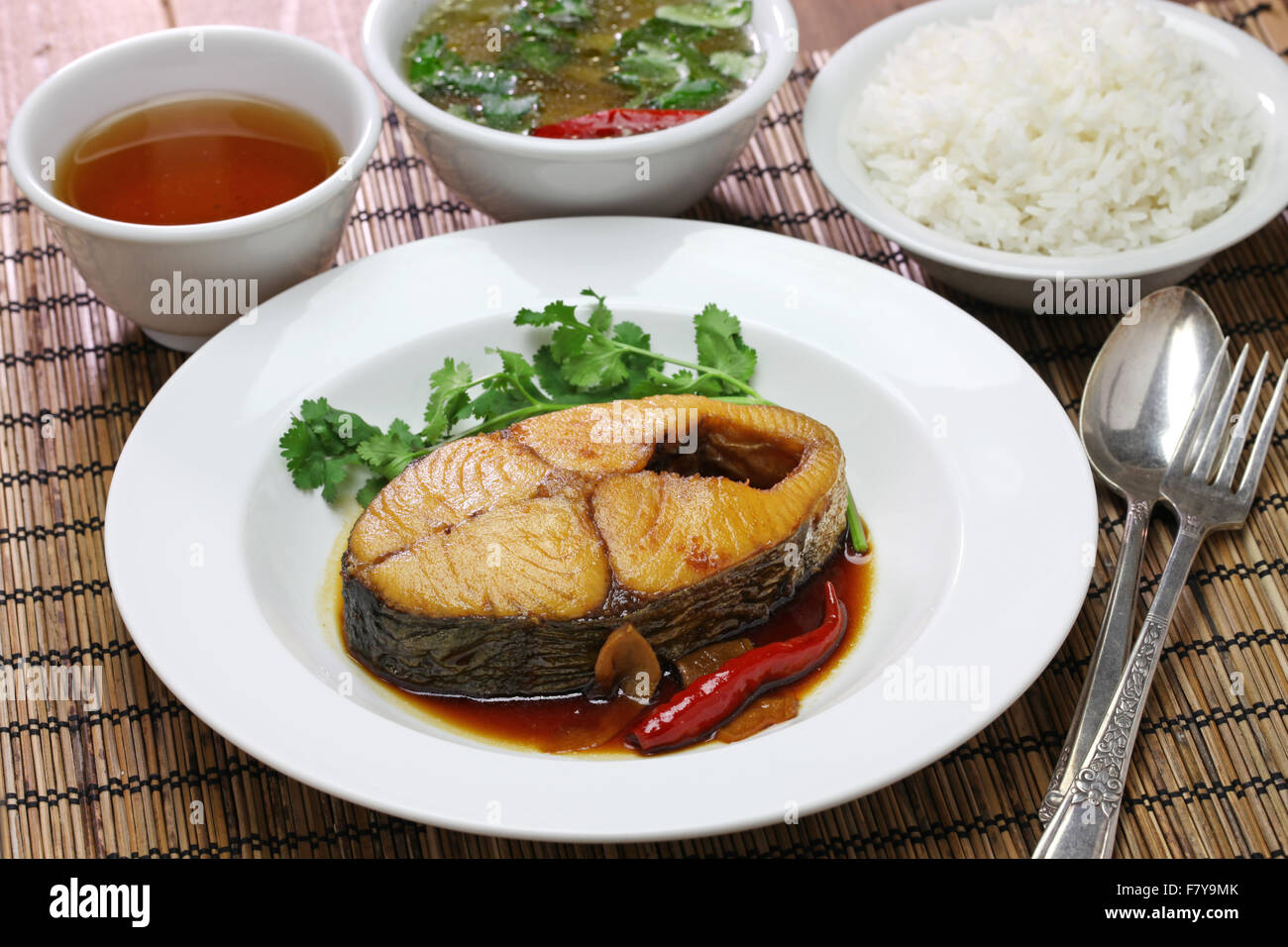 com ca thu kho, rice with king mackerel simmered in caramelized sauce, vietnamese cuisine - Stock Image