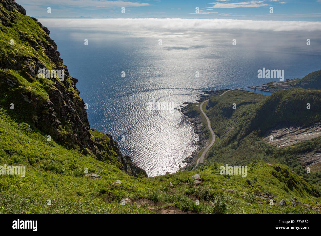 View from the ascent to Reinebringen in the Lofoten Islands Norway looking back towards Moskenes and the E10 highway - Stock Image