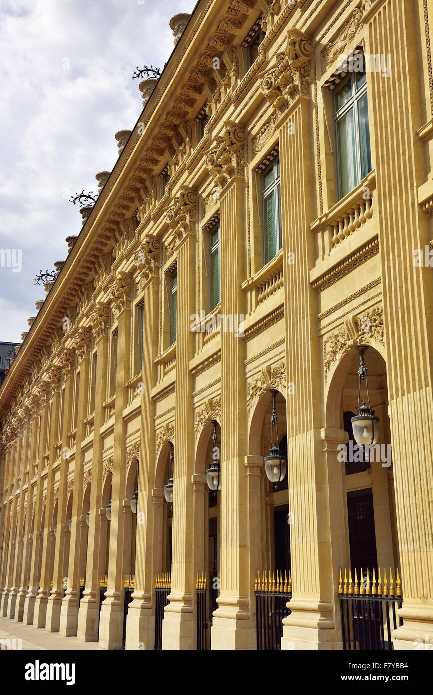 Facade of the Palais Royale, old city palace, now the constitutional court, Paris, Ile de France, France - Stock Image
