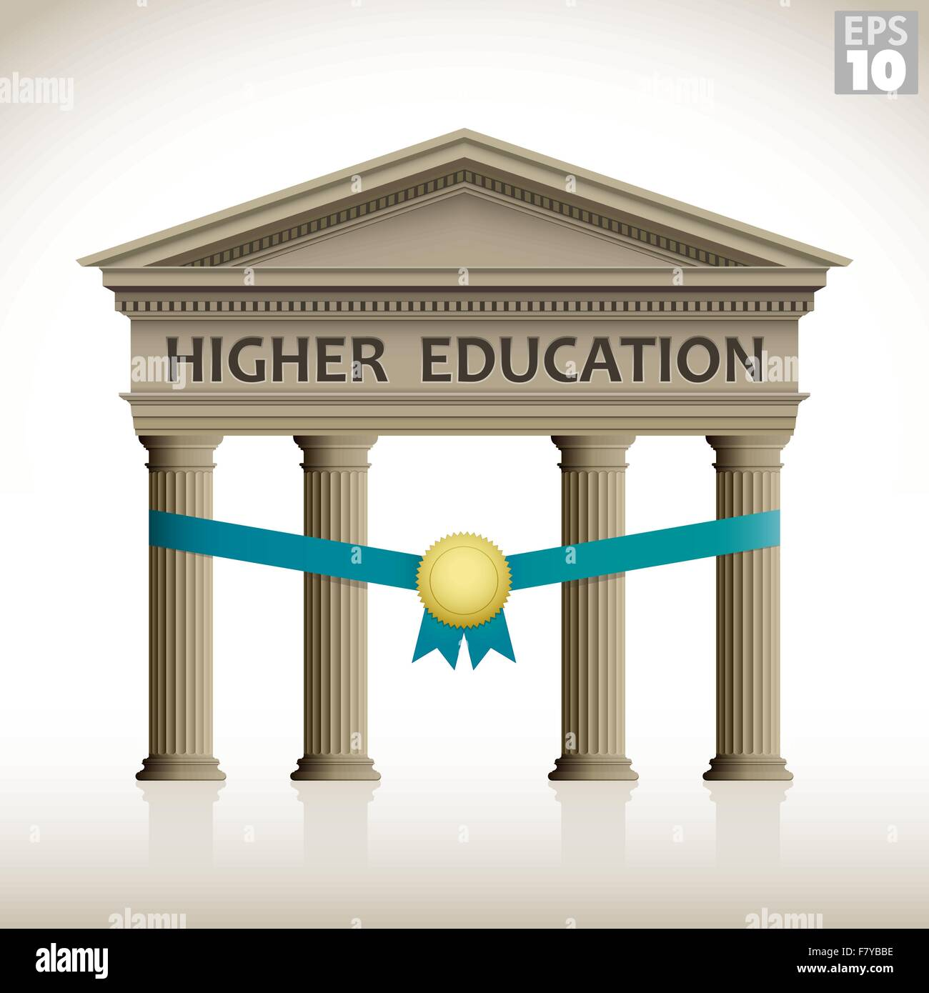 Higher education roman building inauguration or scholarship includes columns, ribbon and medal - Stock Image