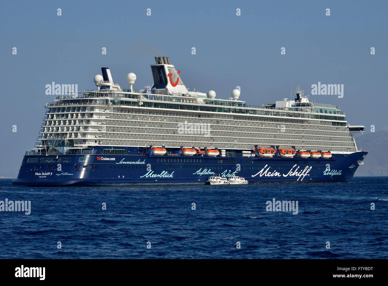 Cruise ship Mein Schiff 3, Mediterranean Sea, Cyclades, Greece - Stock Image