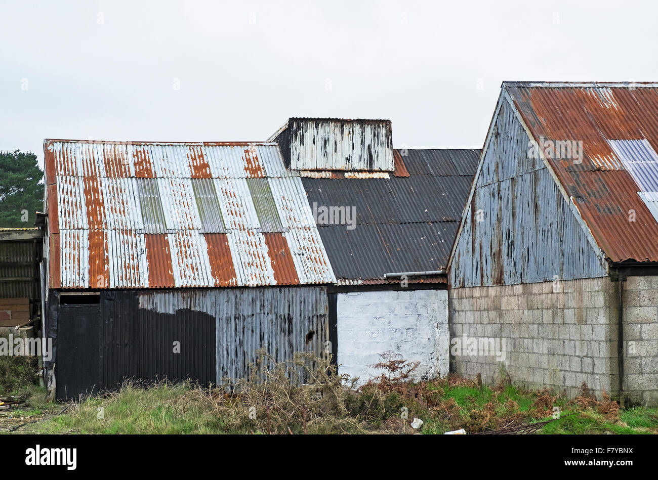 farm buildings made from galvanised corrugated steel sheeting - Stock Image