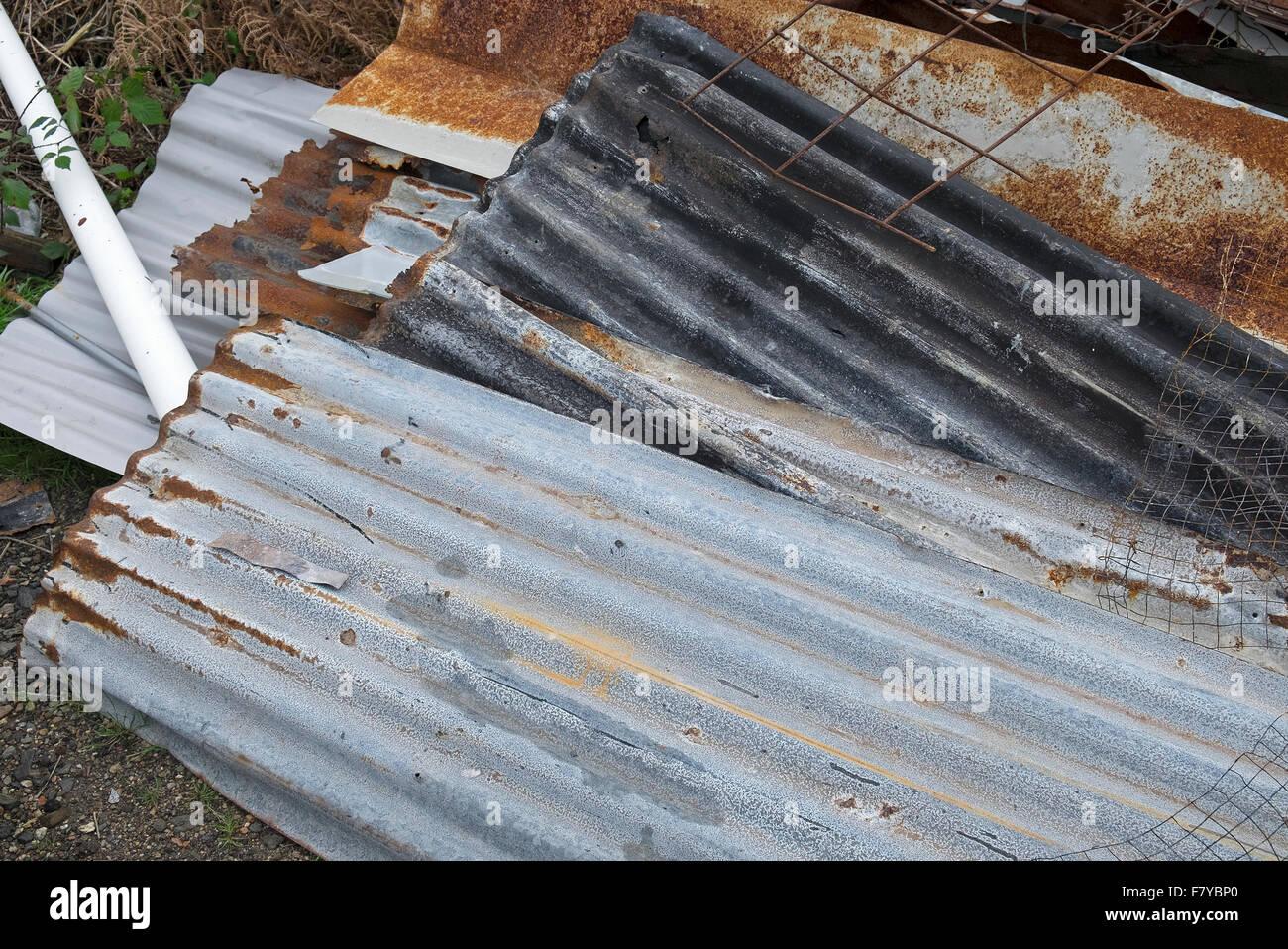 sheets of corrugated iron - Stock Image