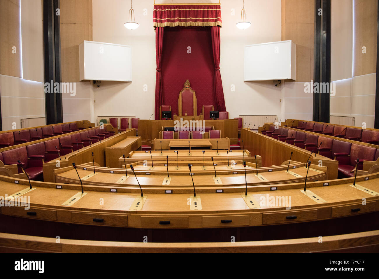 View of Dudley Council chamber in the council house where councillors meet to make democratic decisions - Stock Image