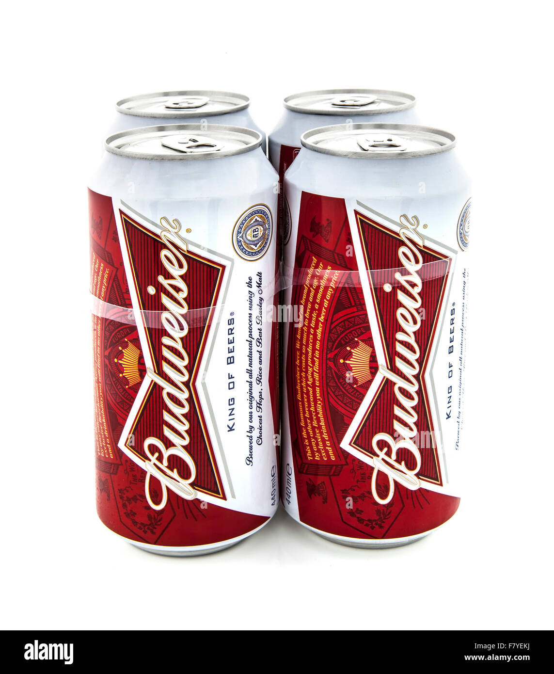 Four Pack of Budweiser Beers on a White Background - Stock Image