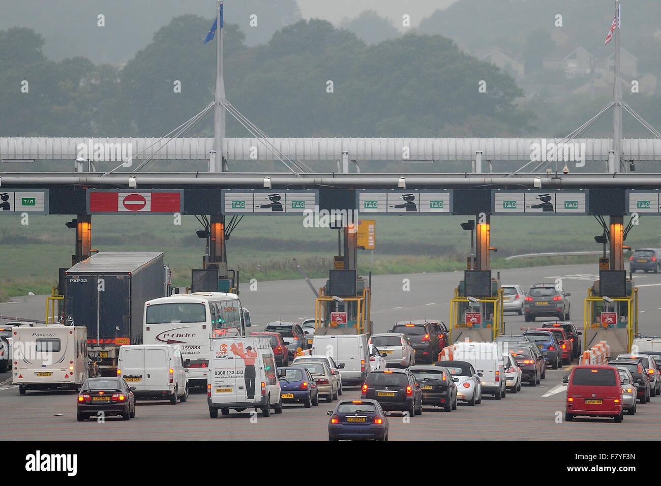 The Severn Bridge Tolls in South Wales. - Stock Image