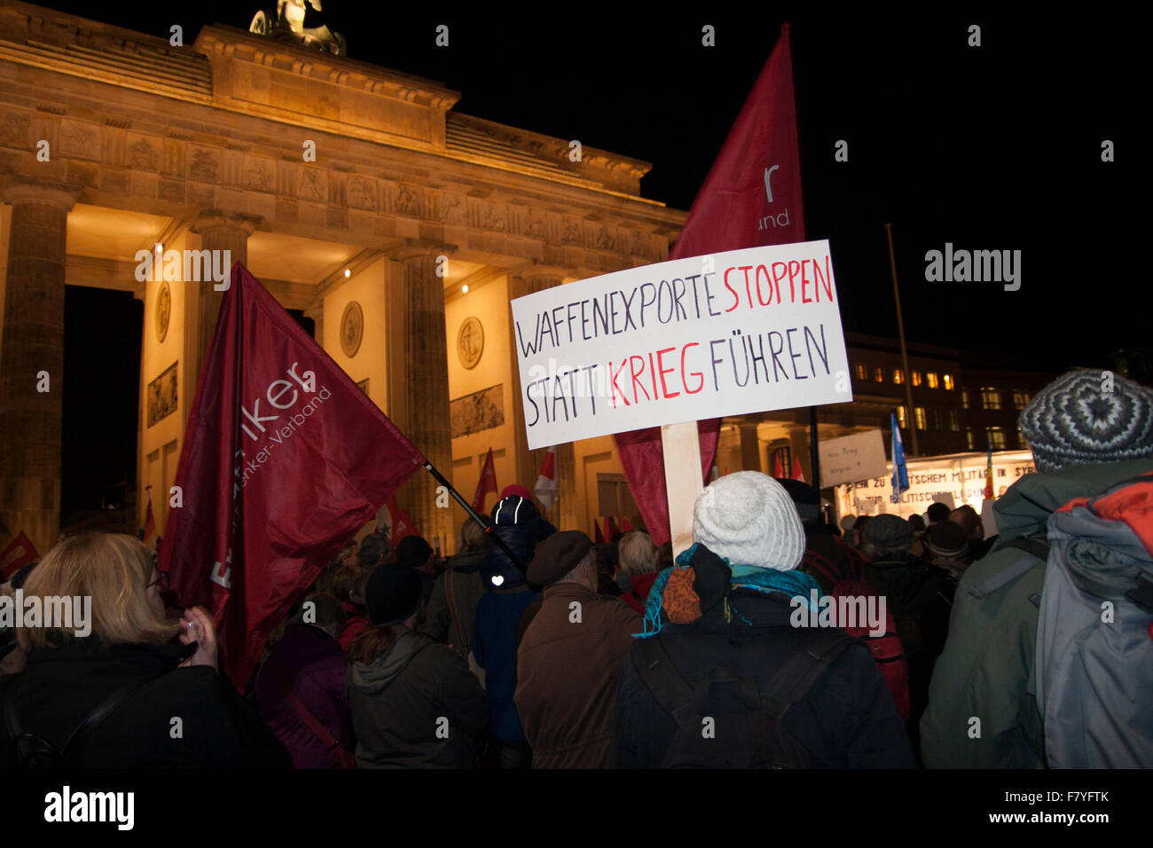 Berlin, Germany. 3rd December, 2015. Demonstration against German military intervention in Syria. 'Stop weapon - Stock Image