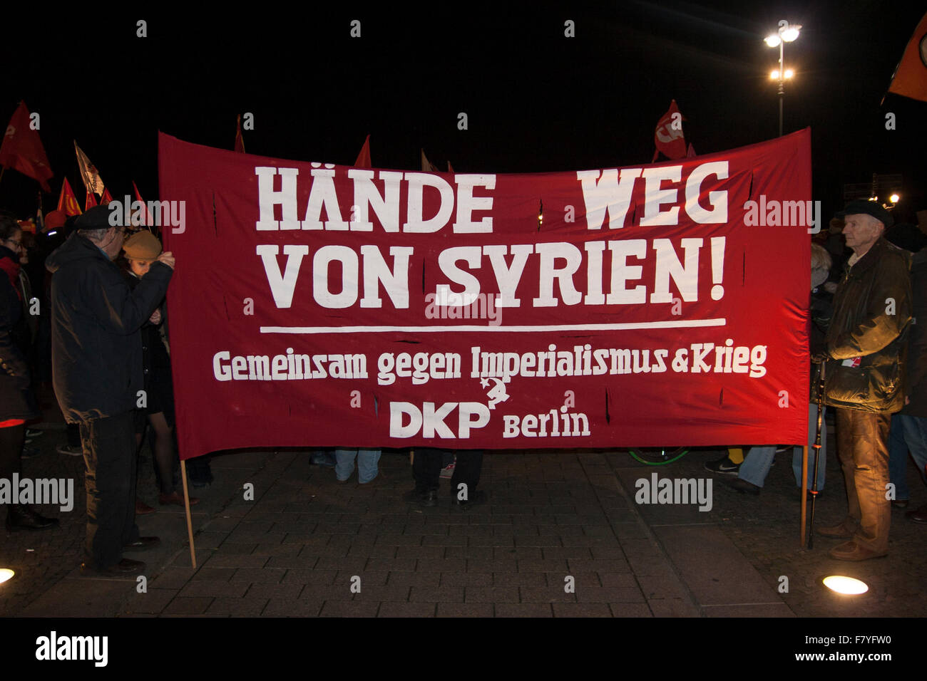Berlin, Germany. 3rd December, 2015. Demonstration against German military intervention in Syria. 'Hands off - Stock Image