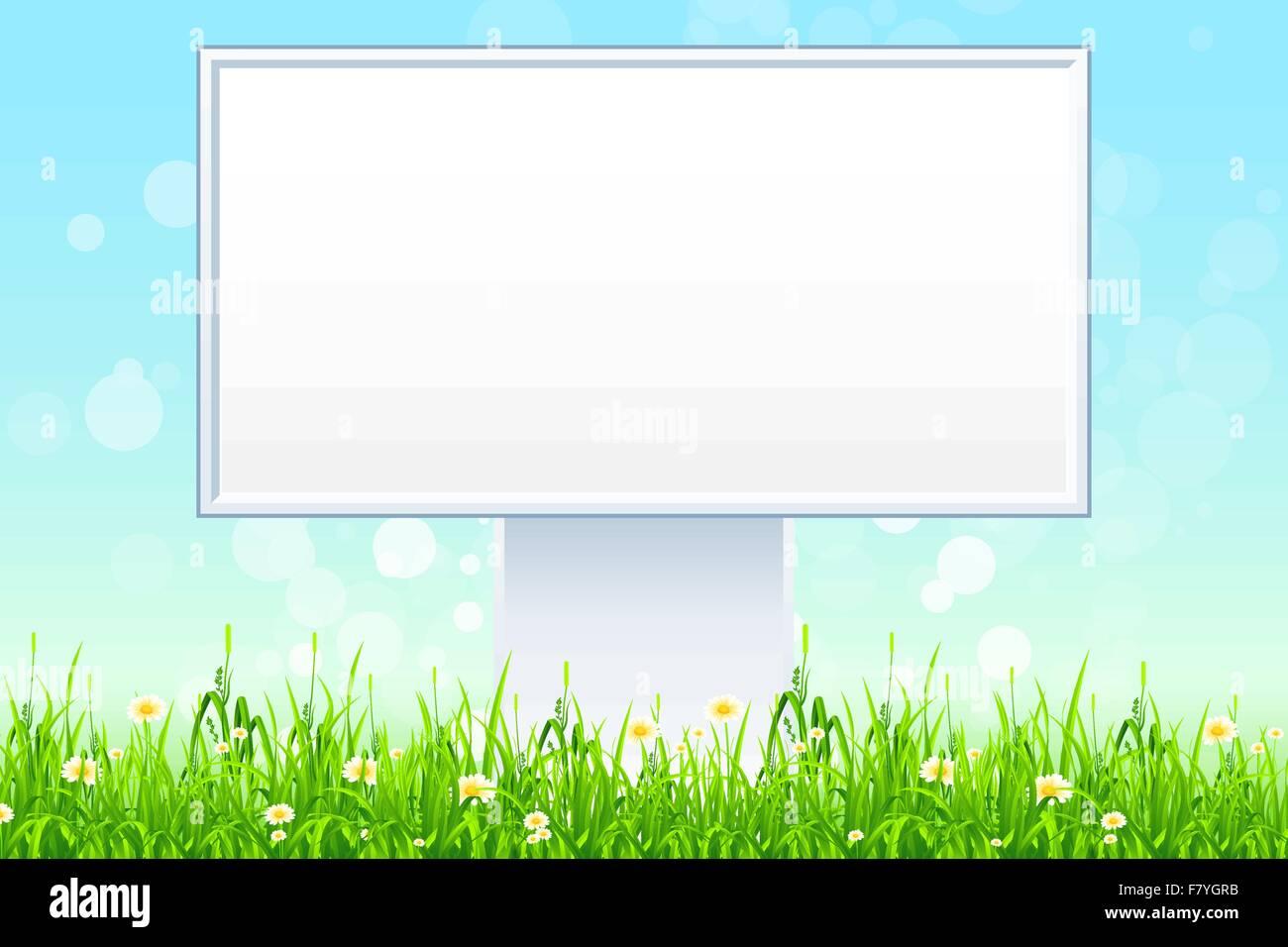 Empty Billboard in the Grass - Stock Image