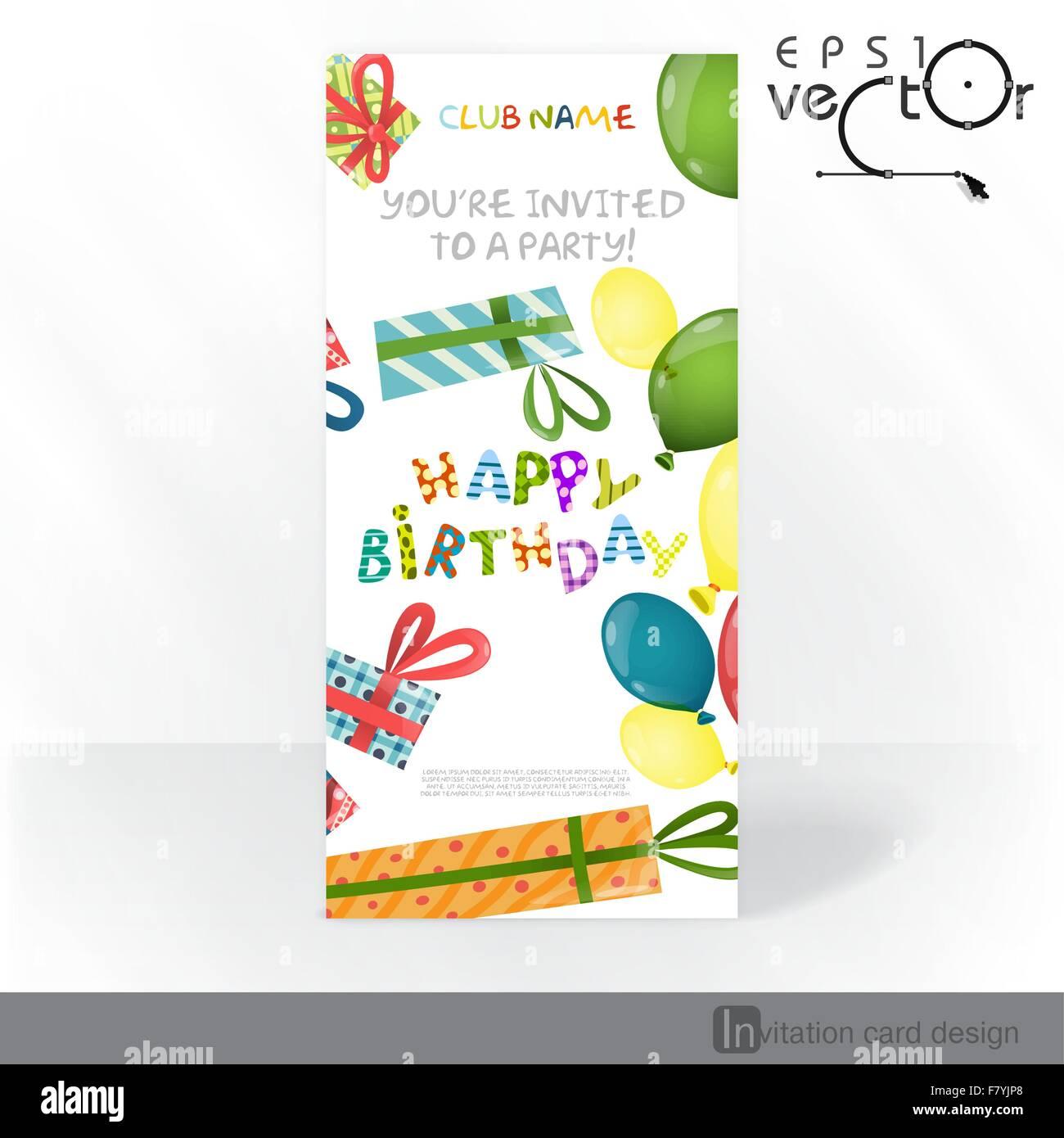 Party Invitation Card Design Template Stock Vector Art