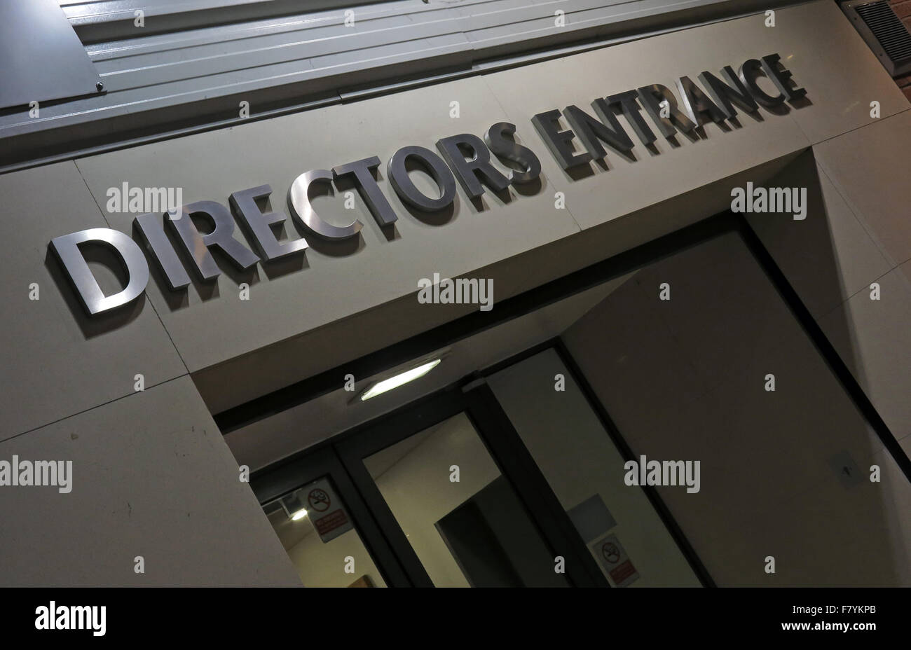 The Manchester United FC Directors Entrance, Old Trafford,Manchester,England,UK - Stock Image
