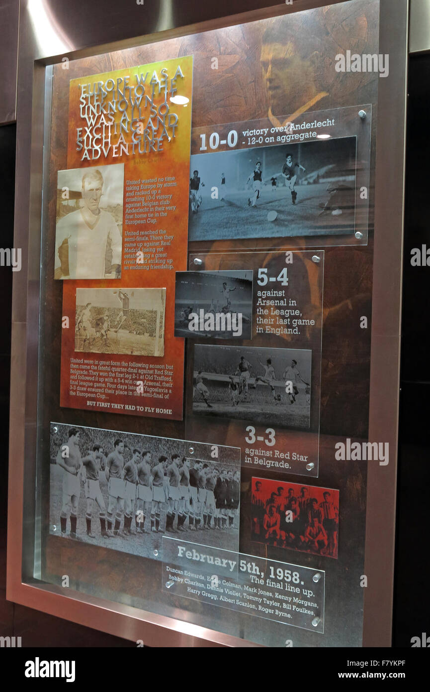 Memorial boards to remember the Munich air disaster,at Old Trafford,MUFC,Manchester United Football Club,England,UK - Stock Image