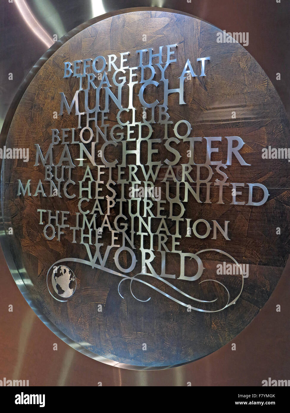 """MUFC,Munich memorial,Old Trafford, Manchester United,England,UK. """"Before the Tragedy at Munich, the club belonged Stock Photo"""