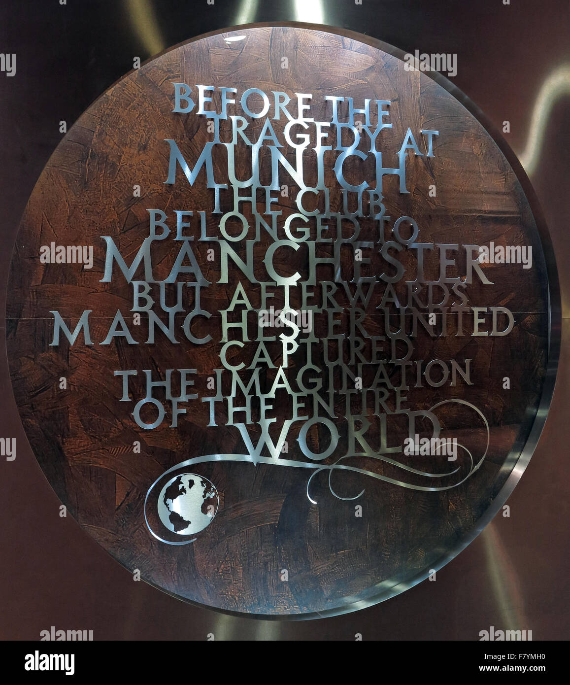 "MUFC,Munich memorial,Old Trafford, Manchester United,England,UK. ""Before the Tragedy at Munich, the club belonged Stock Photo"