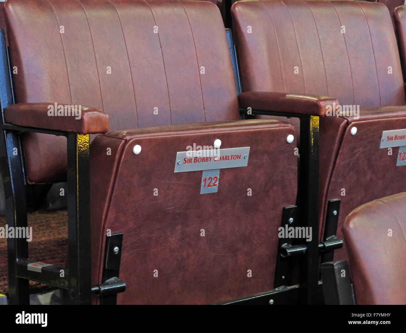 Sir Bobby Charltons seat at MUFC, directors area, Old Trafford, Manchester - Stock Image