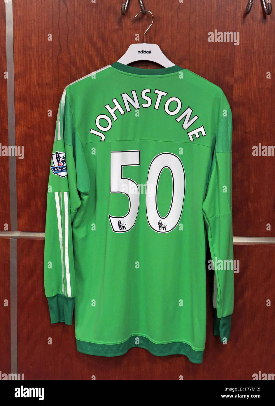 Samuel Luke 'Sam' Johnstone green shirt in MUFC dressing room, Old Trafford - Stock Image