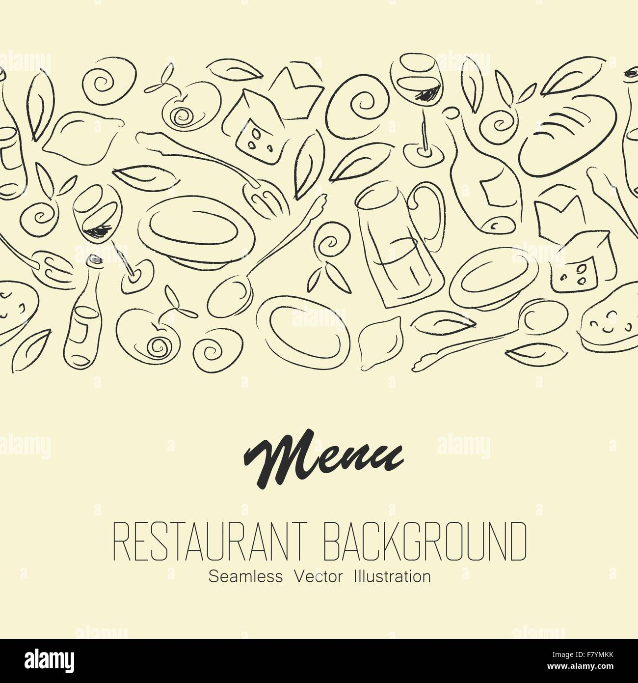 Seamless Resaurant Background With Copyspace. Vector - Stock Image