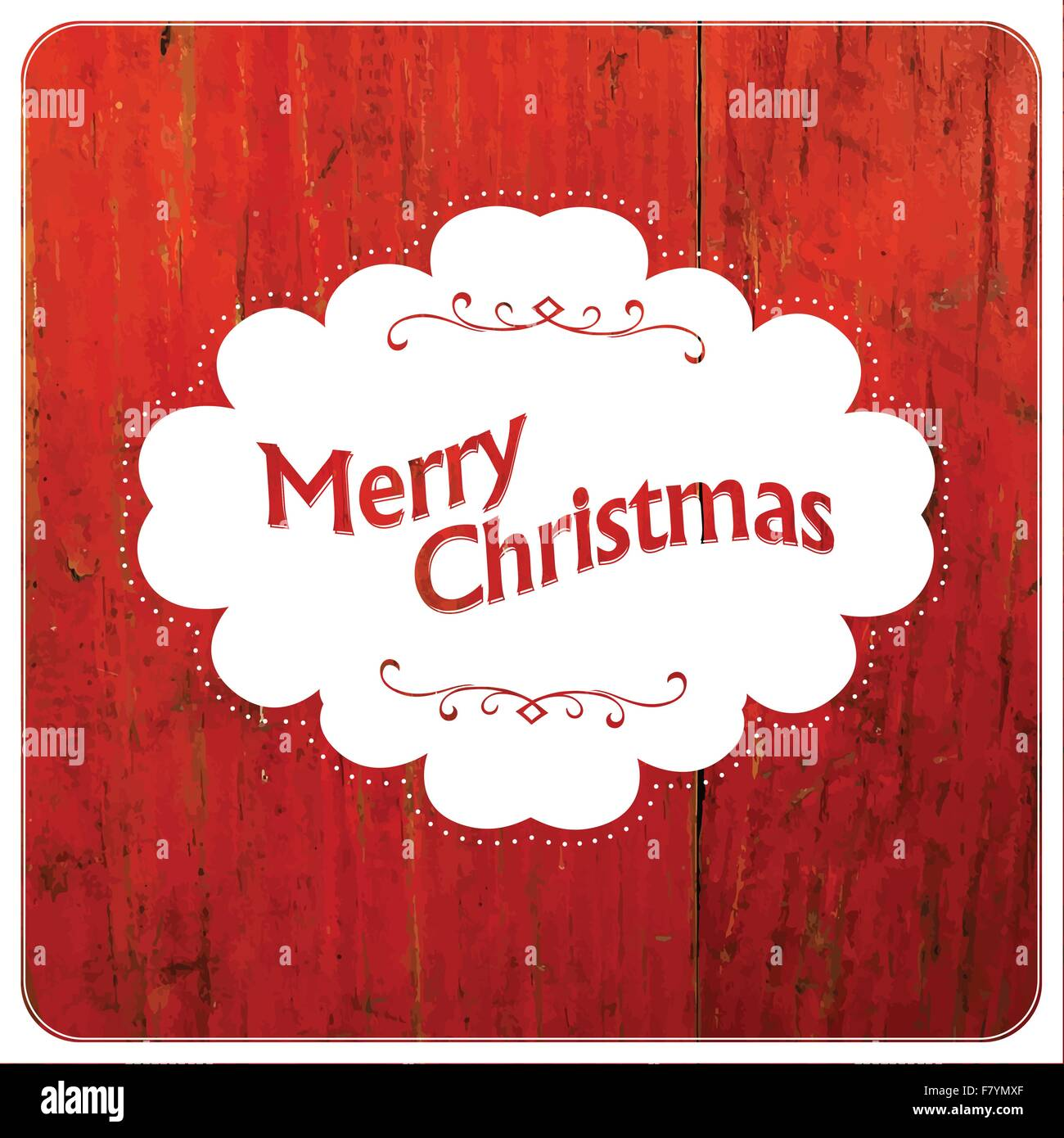 Merry Christmas VIntage Design On Red Planks. Vector - Stock Image