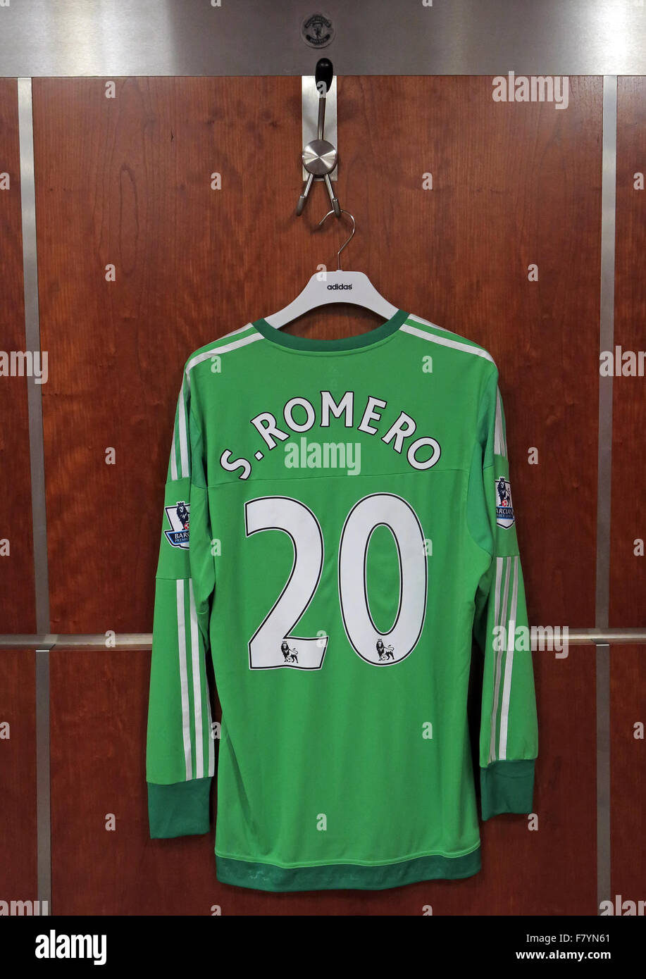 Sergio Romero green shirt in MUFC dressing room, Old Trafford - Stock Image