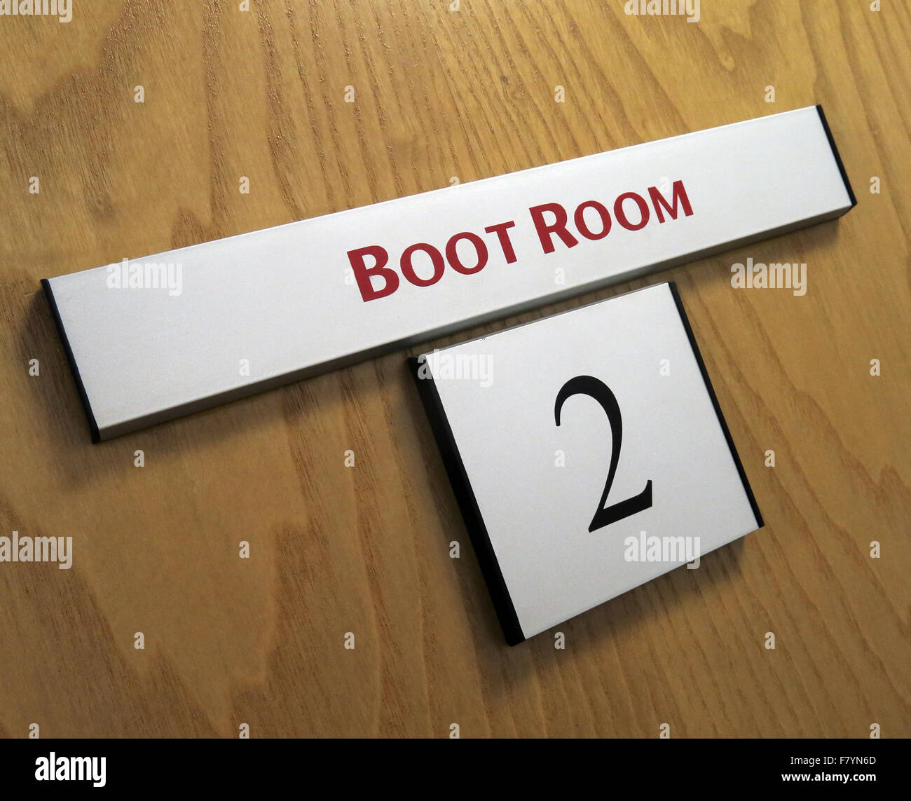 Manchester United Boot Room Door, Old Trafford, Stretford, England, UK Stock Photo