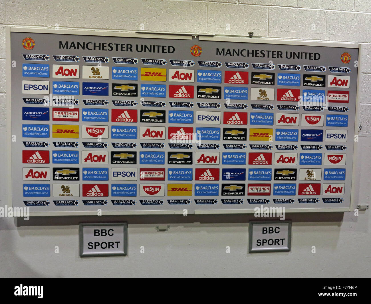 MUFC,BBC Sport, Manchester United interview board, Old Trafford, England,UK - Stock Image