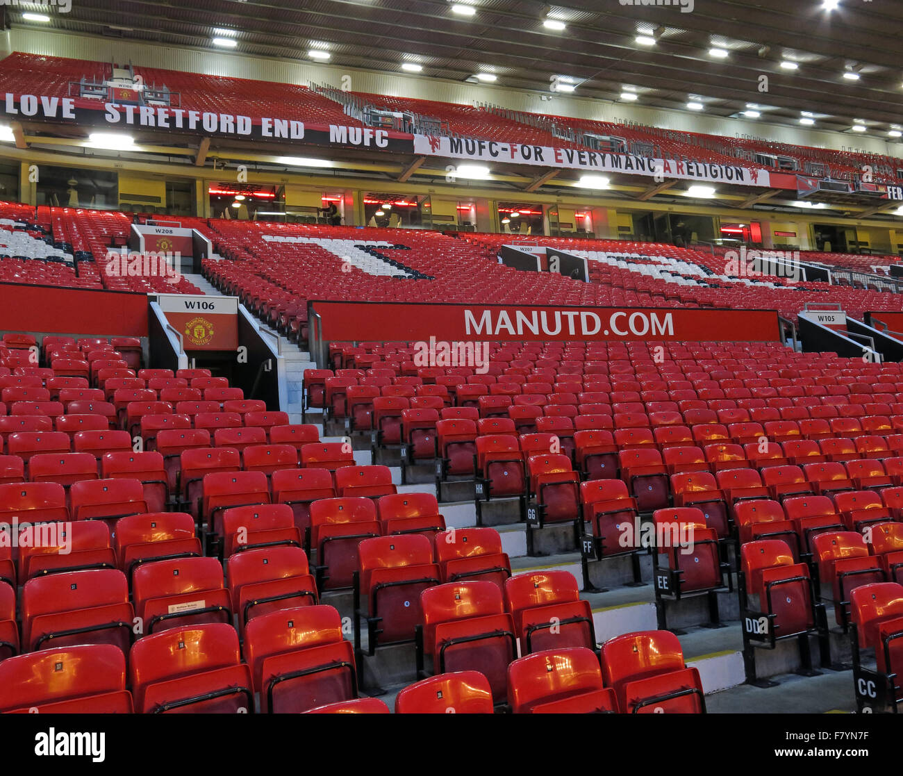 The Manchester United Stretford End,Old Trafford stadium,MUFC,England,UK - Stock Image