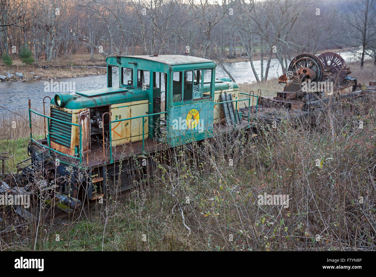 Cass, West Virginia - Railroad equipment that is no longer used at Cass Scenic Railroad State Park. - Stock Image