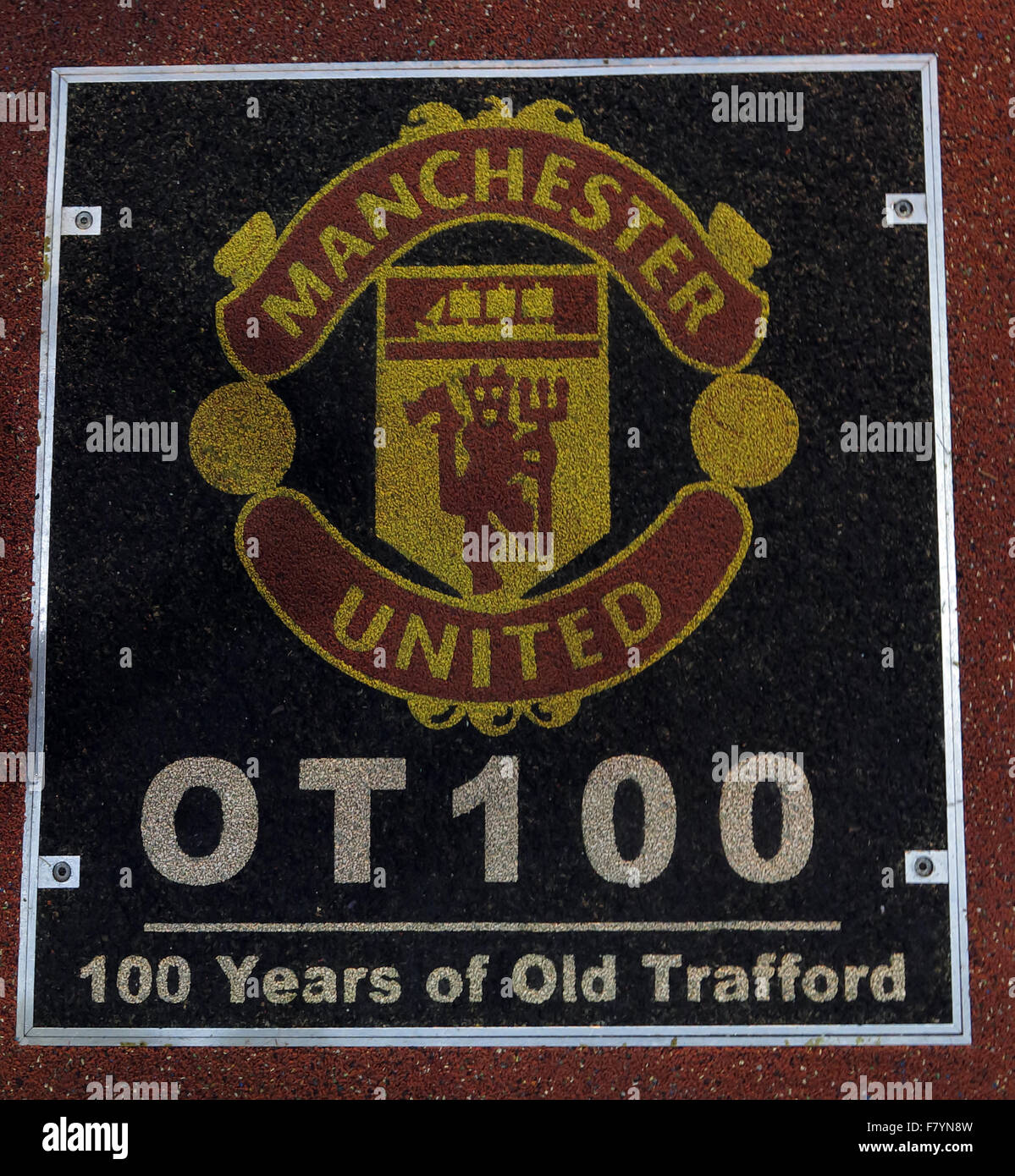 Site of the Old Trafford 100 years time capsule OT100, Manchester United Stadium,England,UK - Stock Image