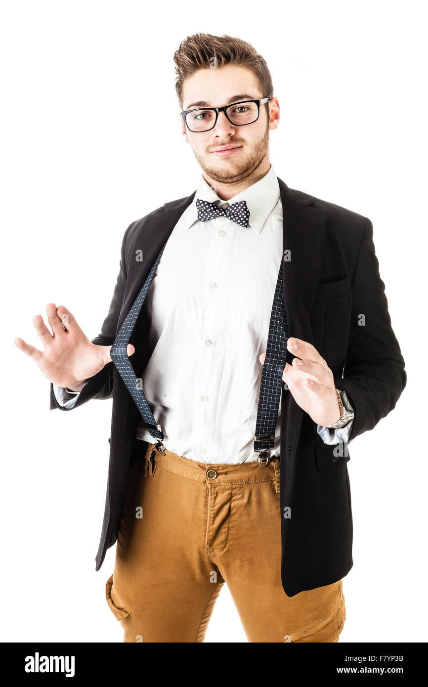 87238ba05751 a handsome young man or hipster with braces and a bow tie isolated over a  white