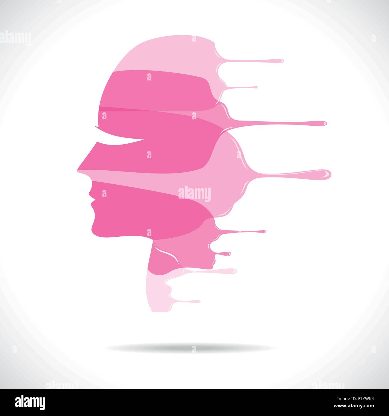 pink painted beautiful women face - Stock Vector