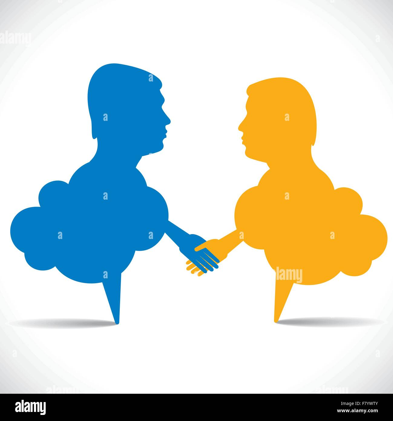 people like message bubble hand shake - Stock Image