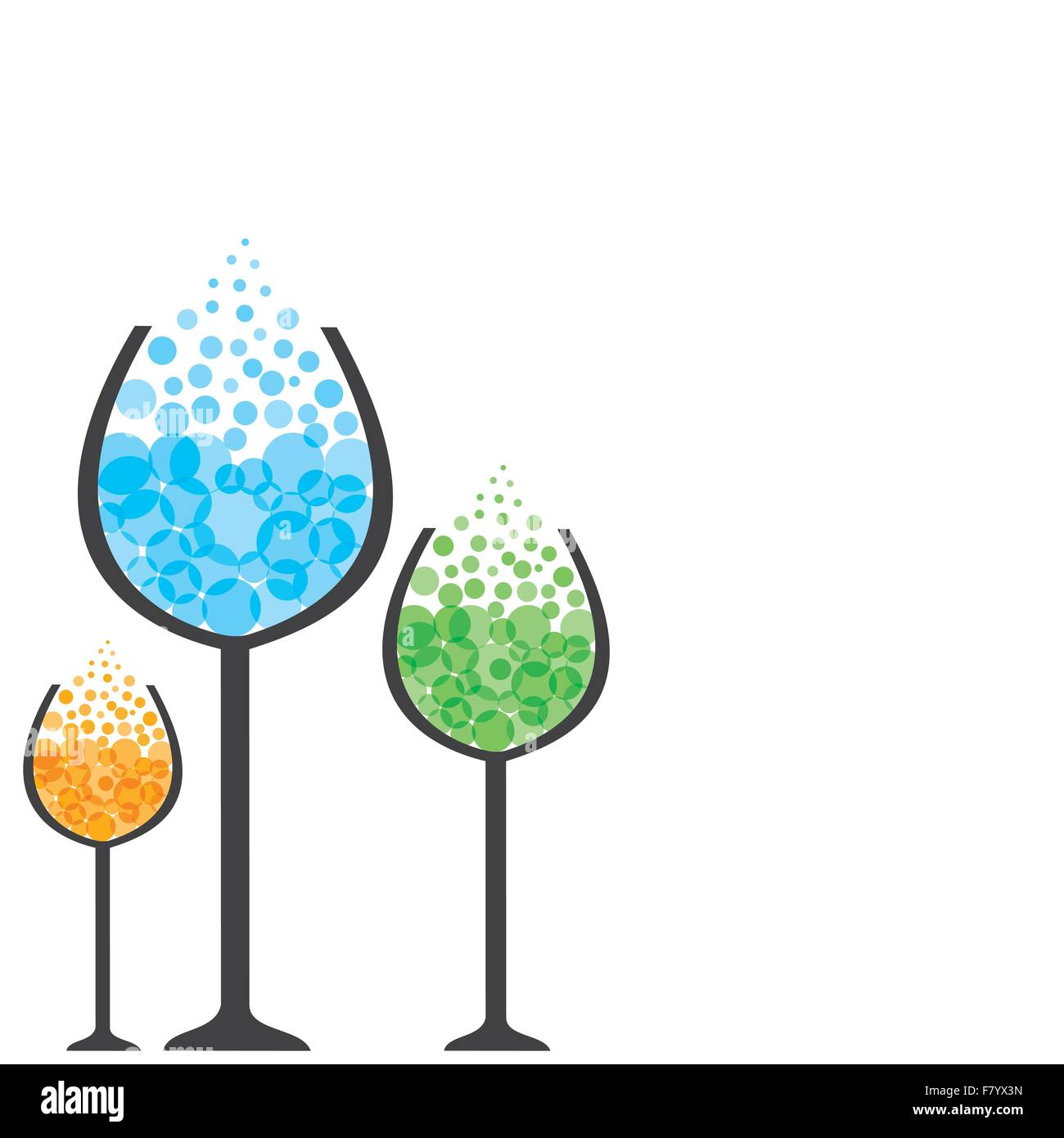 colorful drink in wine glass - Stock Vector