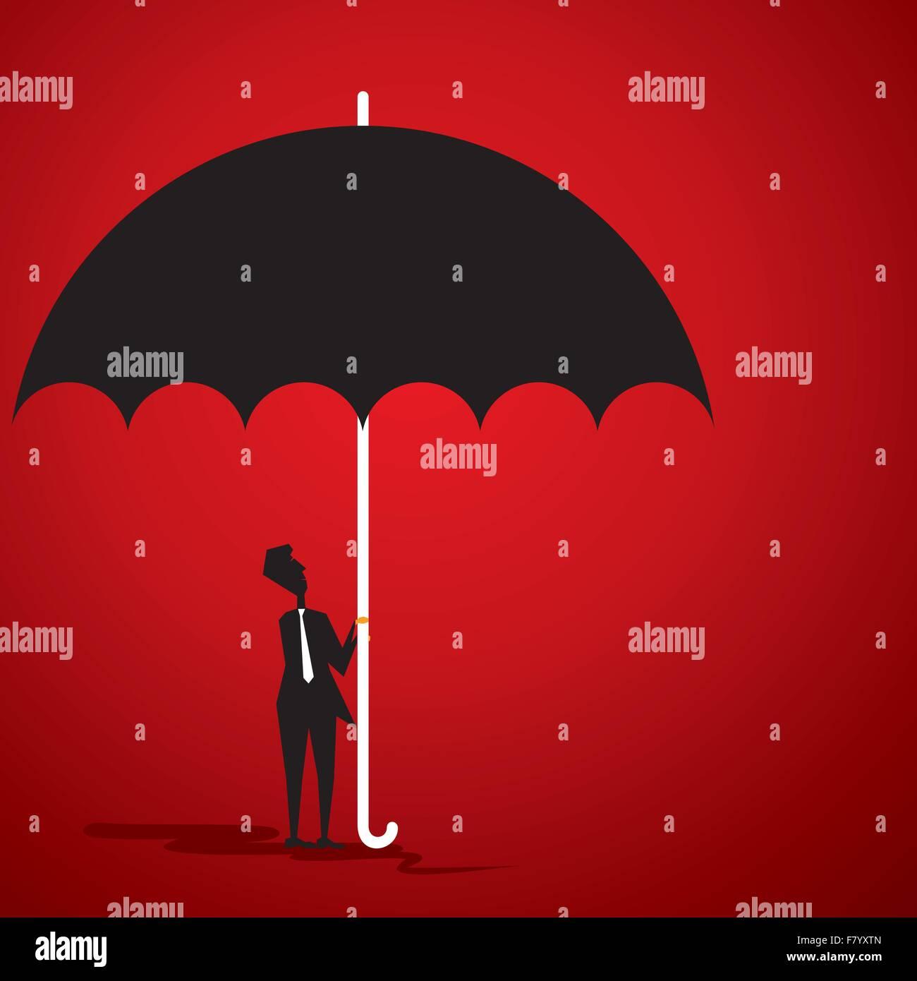 small men under big umbrella stock vector - Stock Image