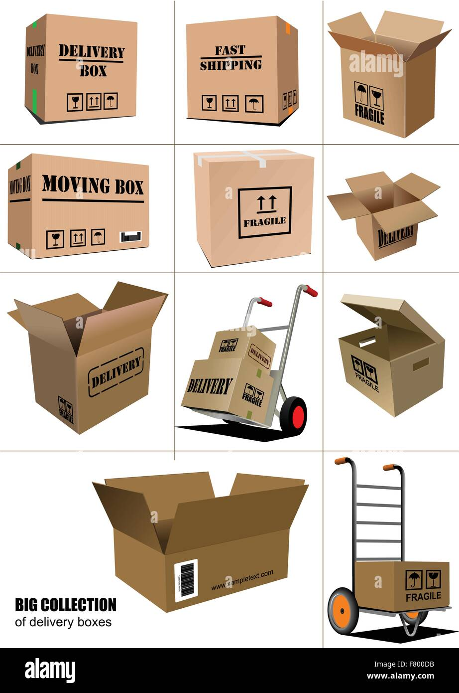 Delivery equipment collection.Colored vector illustration for de - Stock Vector