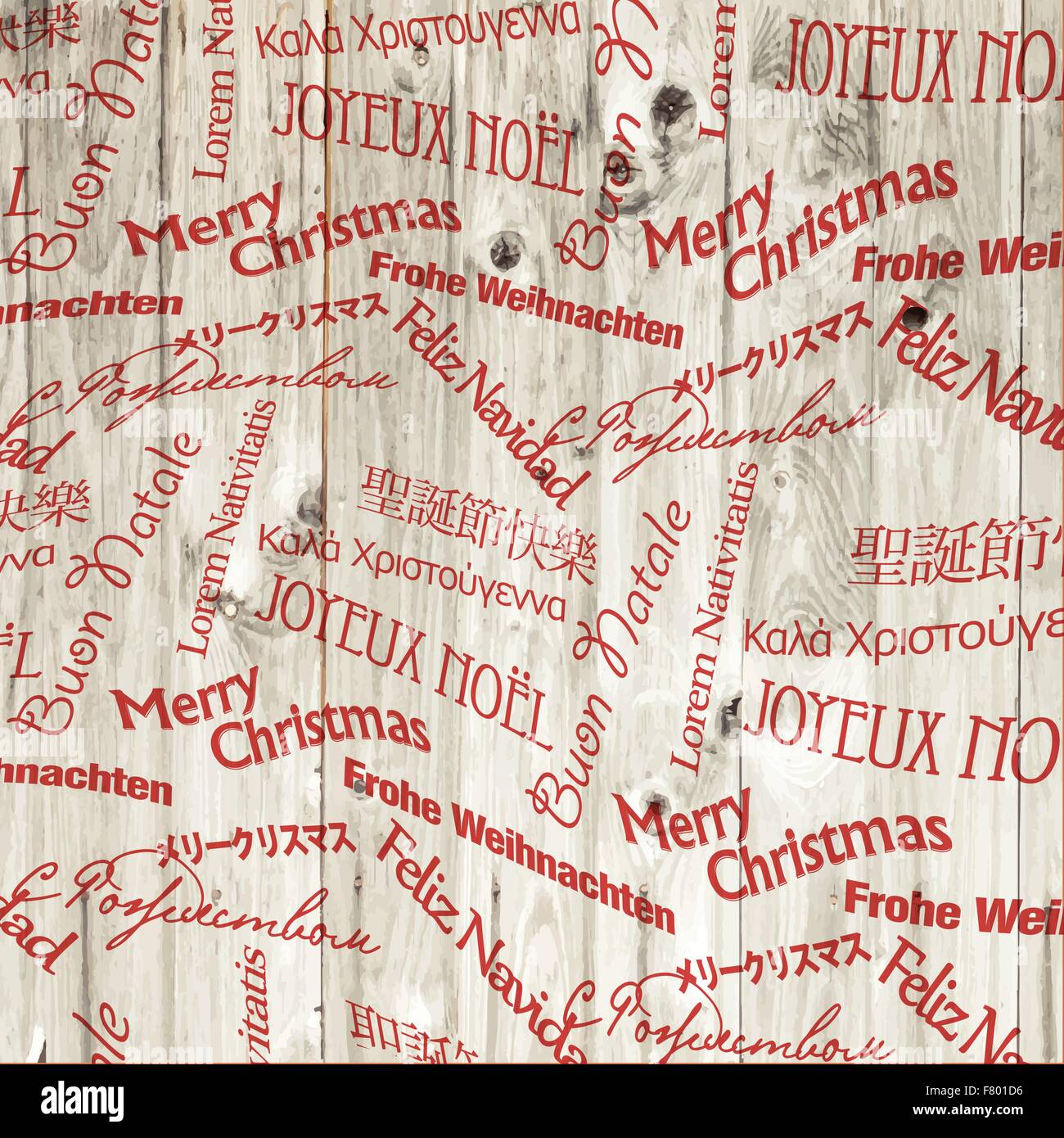 christmas words pattern on wooden texture vector