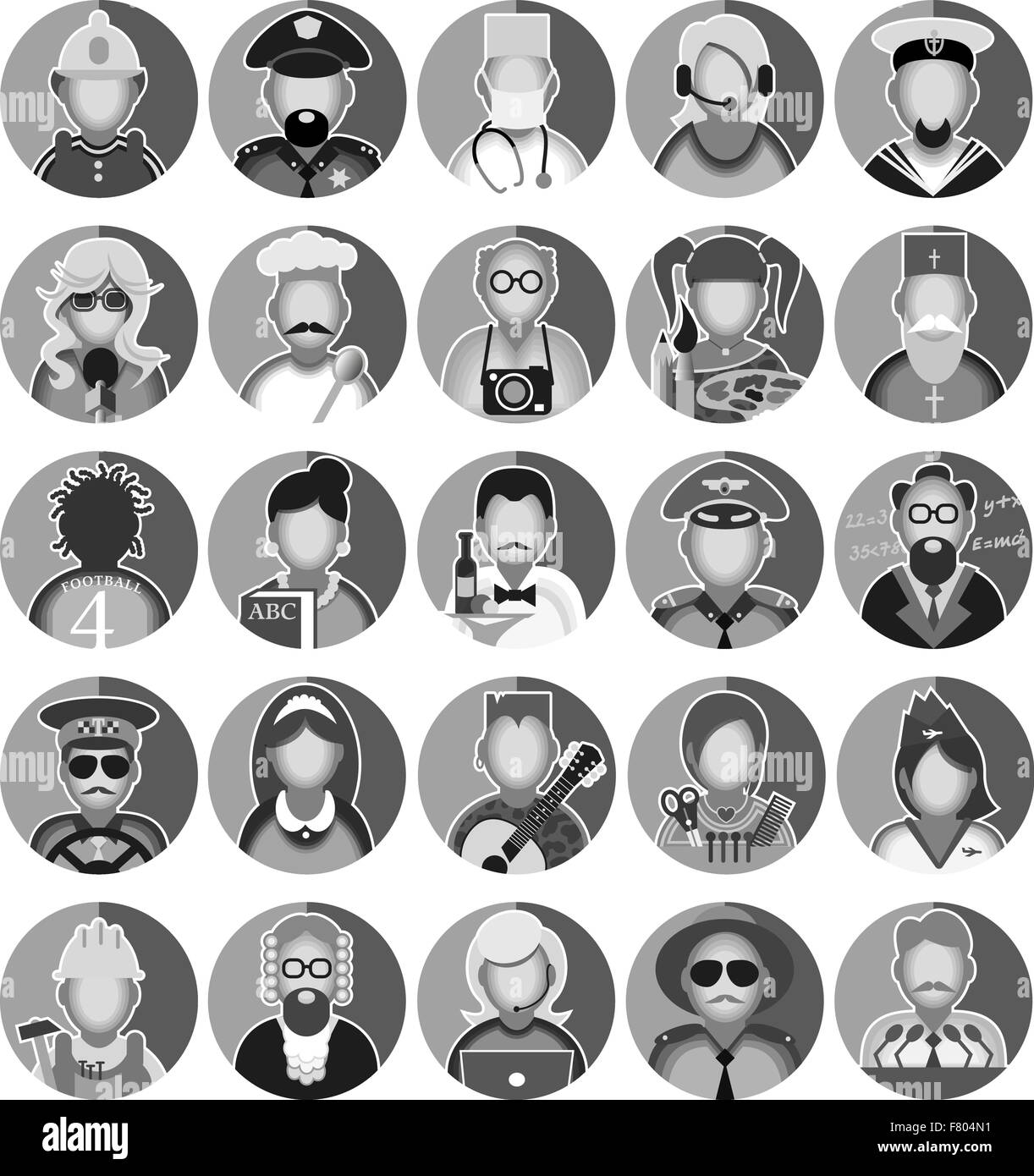Set of icons with people profession. Vector illustration - Stock Image