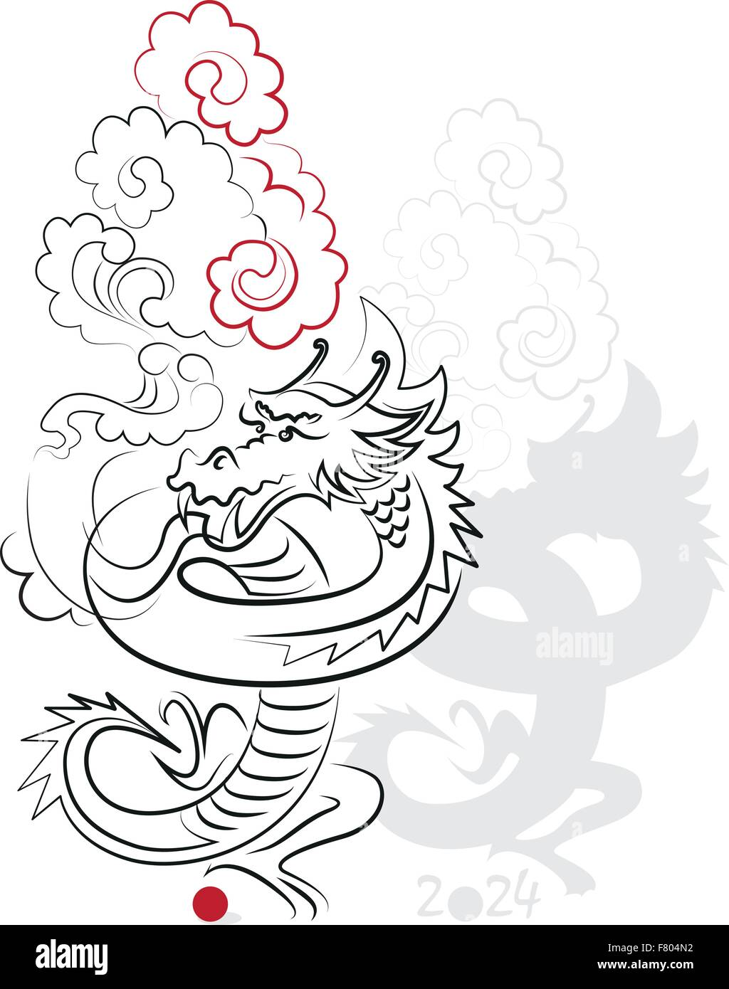 chinese new year 2024 dragon year greeting or invitation card for the holiday vector illustration