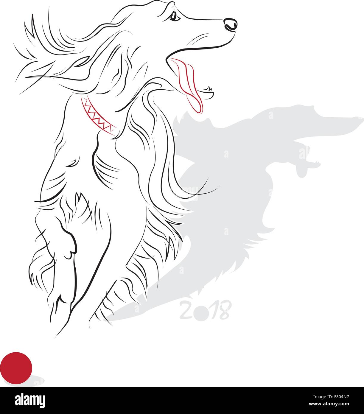 chinese new year 2018 dog year greeting or invitation card for the holiday vector illustration