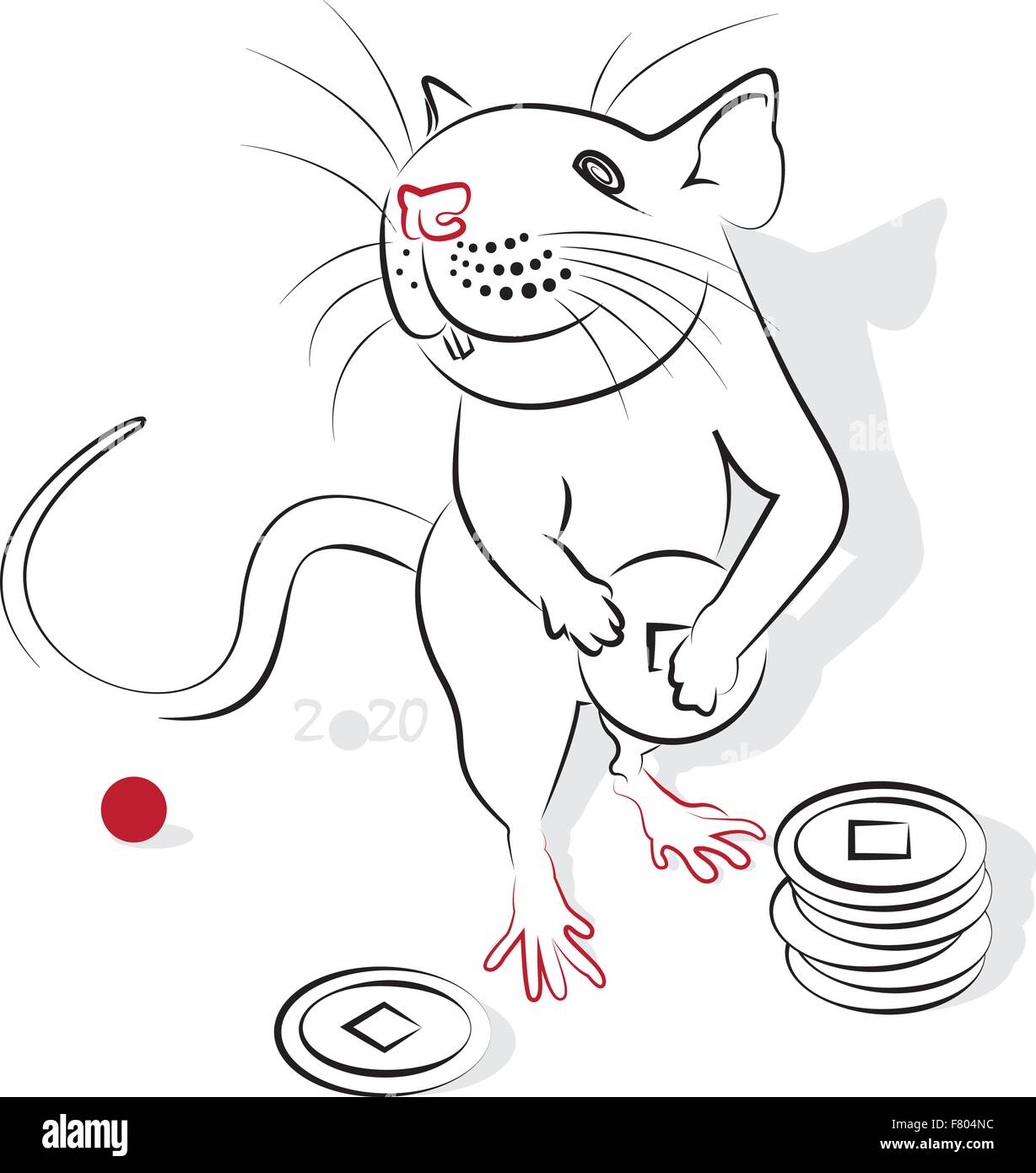 chinese new year 2020 of the rat rat year greeting or invitation card for the holiday vector illustration