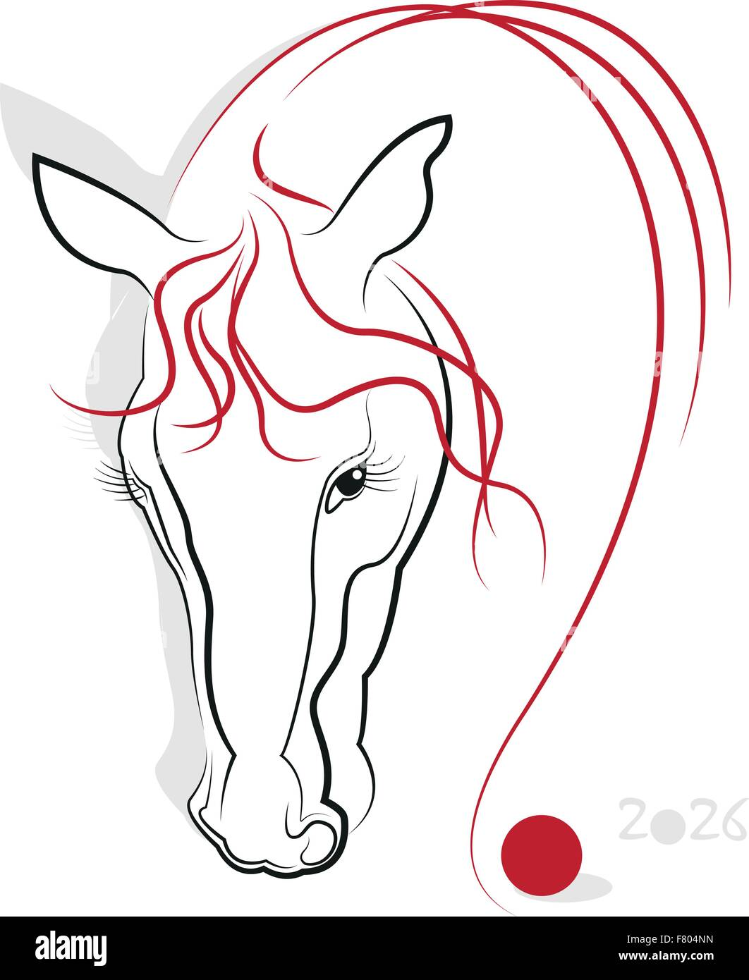 chinese new year 2026 of the horse greeting or invitation card for the holiday vector illustration